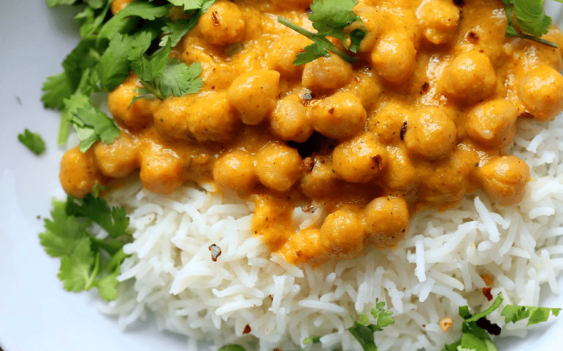 Garbanzos al curry de mango